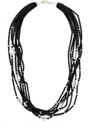 Мульти-колье из бусин Balenciaga Vintage. Цвет: чёрный