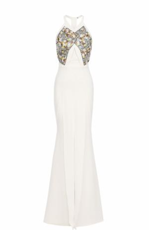 Приталенное платье-макси с подолом Roland Mouret. Цвет: белый