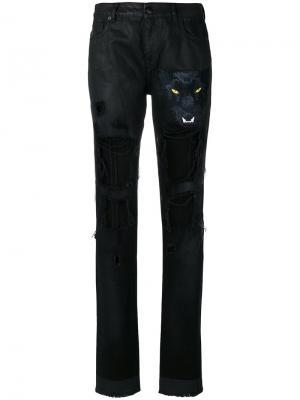 Состаренные брюки Marcelo Burlon County Of Milan. Цвет: чёрный