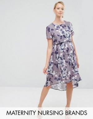 Hope and Ivy Maternity Платье миди 2 в 1 для беременных и кормящих мам &. Цвет: фиолетовый