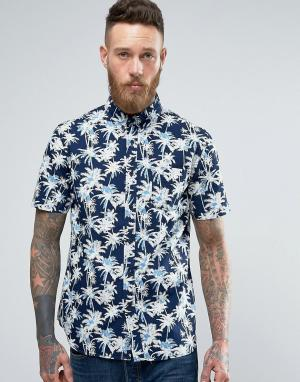 Edwin Классическая рубашка цвета индиго с пальмами. Цвет: темно-синий