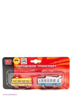 Набор из 2-х металл. моделей Технопарк трамвай и троллейбус. Цвет: желтый, синий, красный
