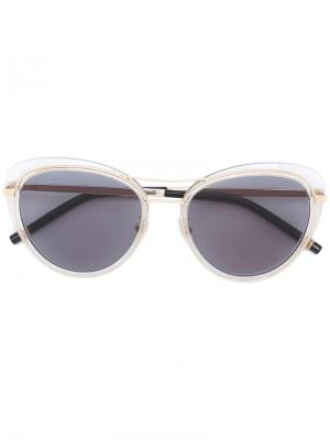 Солнцезащитные очки с круглой оправой Boucheron. Цвет: металлический