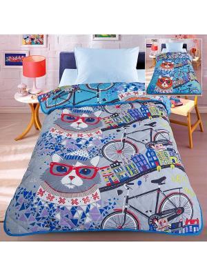 Покрывало-одеяло Letto Велокот 140*200см. Облегченное, с двусторонним дизайном. 100% хлопок. Цвет: синий