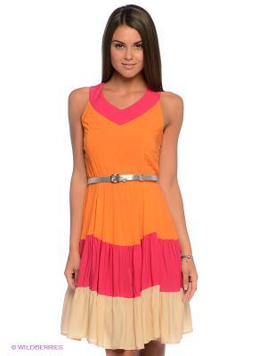 Платье Finn Flare. Цвет: оранжевый, фуксия