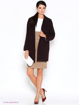 Пальто RUXARA. Цвет: коричневый