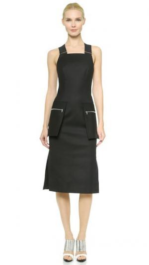 Платье-футляр с карманами на молнии Josh Goot. Цвет: голубой