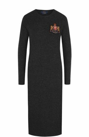 Платье-миди из смеси шерсти и кашемира с длинным рукавом Polo Ralph Lauren. Цвет: темно-серый