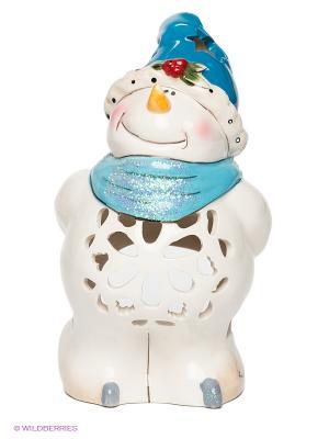 Подсвечник Снеговик Blue Sky. Цвет: молочный, лазурный