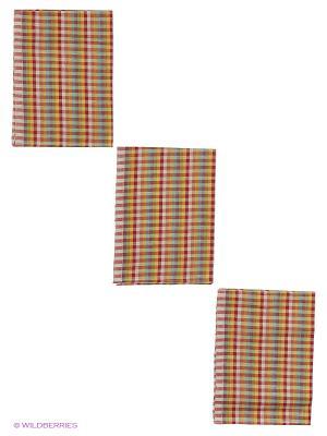 Набор полотенец лен Метиз. Цвет: красный, желтый
