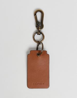 Esprit Коричневый кожаный брелок для ключей. Цвет: бежевый