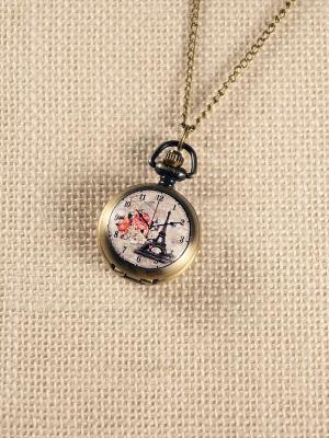 Кулон-часы Эйфелева и розы Mitya Veselkov. Цвет: бронзовый