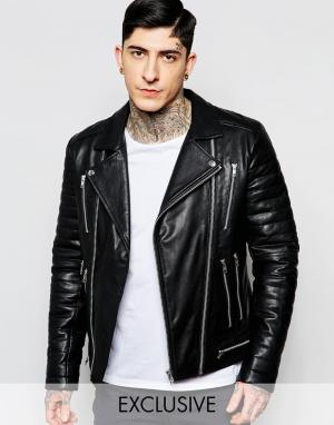 Black Dust Кожаная байкерская куртка с молниями и стегаными рукавами. Цвет: черный