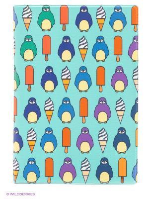 Обложка для паспорта Пингвины и эскимо Mitya Veselkov. Цвет: бирюзовый, фиолетовый, оранжевый