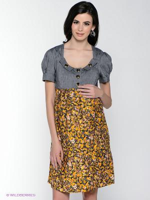 Платье MARY MEA. Цвет: серый, оранжевый