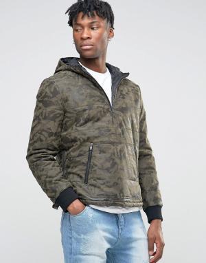 BL7CK Куртка из искусственной кожи с камуфляжным принтом. Цвет: зеленый
