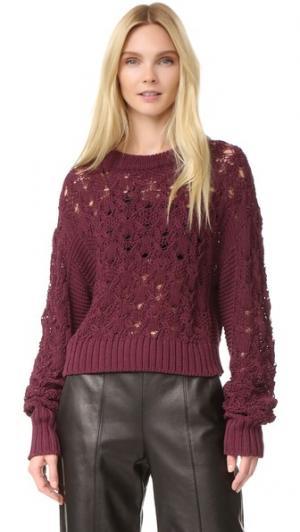 Пуловер из трикотажа жемчужной вязки и косичками Public School. Цвет: бордовый