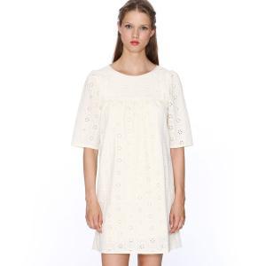 Платье с короткими рукавами из английского кружева , Dress Claudia PEPALOVES. Цвет: кремовый