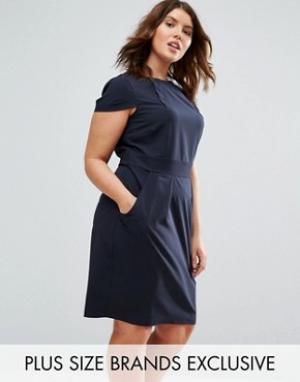 Closet Plus Платье-футляр миди с короткими рукавами и поясом сзади. Цвет: темно-синий
