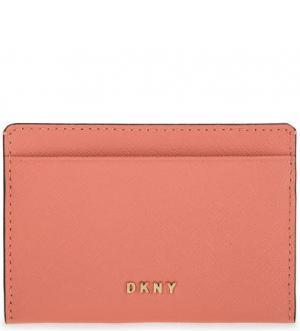 Визитница из сафьяновой кожи DKNY. Цвет: коралловый
