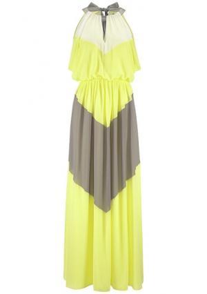 Платье-макси. Цвет: желтый/хаки