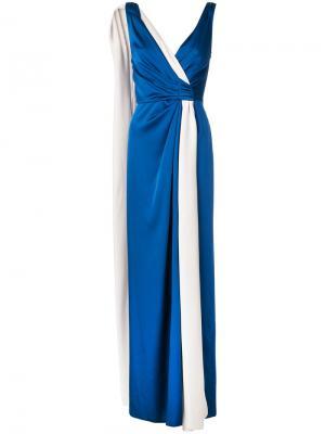 Платье с запахом без рукавов Paule Ka. Цвет: синий