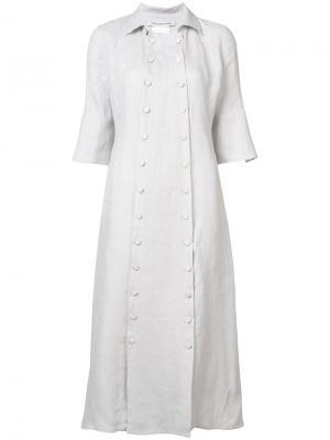 Платье на пуговицах с короткими рукавами Cherevichkiotvichki. Цвет: розовый и фиолетовый
