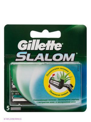 Сменные кассеты для бритья Slalom, 5 шт. GILLETTE. Цвет: зеленый