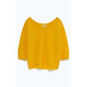 Пуловер с вырезом-лодочкой из плотного трикотажа HANA AMERICAN VINTAGE. Цвет: желтый,розовая пудра