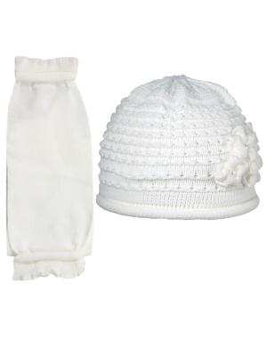 Шапка и шарф Grans. Цвет: белый