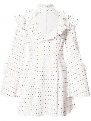 Расклешенное платье с чокером Caroline Constas. Цвет: белый