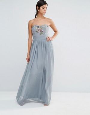 Maya Платье макси в стиле бандо с вышивкой. Цвет: серый