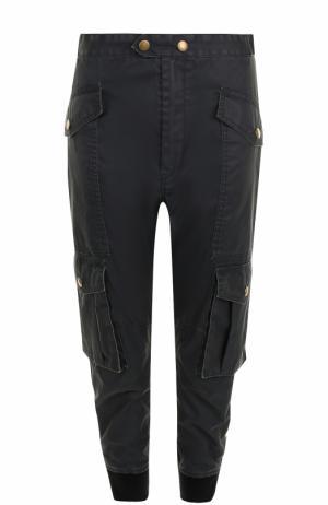 Укороченные брюки с манжетами накладными карманами Isabel Marant Etoile. Цвет: темно-синий
