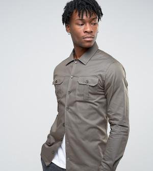 Noak Рубашка скинни в стиле милитари. Цвет: зеленый