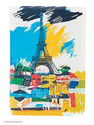 Обложка для паспорта Mitya Veselkov. Цвет: желтый, белый, синий