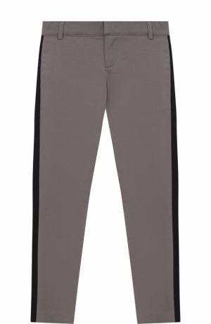 Хлопковые брюки с лампасами Lanvin. Цвет: серый