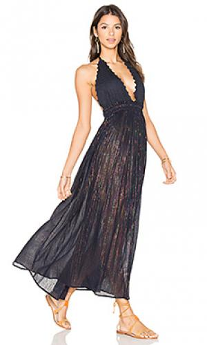 Макси платье hayley LoveShackFancy. Цвет: синий