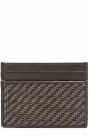 Кожаный футляр для кредитных карт с плетением Ermenegildo Zegna. Цвет: коричневый