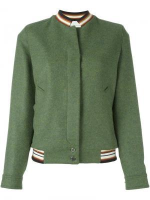 Куртка-бомбер с вышивкой Marco De Vincenzo. Цвет: зелёный