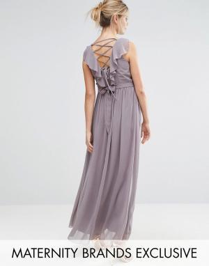 Little Mistress Maternity Платье макси для беременных с декорированной талией и перекрестной спи. Цвет: серый