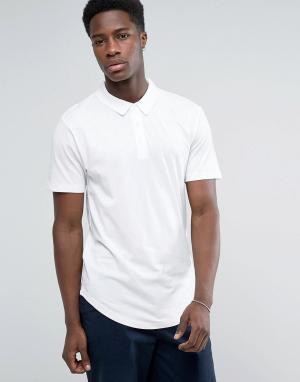 Troy Трикотажная футболка-поло с закругленным низом. Цвет: белый