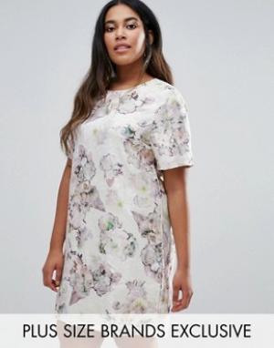 Truly You Цельнокройное жаккардовое платье с короткими рукавами и цветочным прин. Цвет: мульти