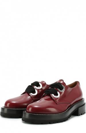 Лаковые ботинки на шнуровке Marni. Цвет: бордовый