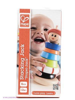 Hape Игрушка развивающая деревянная Пирамидка. Цвет: красный, оранжевый, белый, черный, синий, зеленый, голубой, бежевый