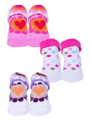 Носки, 3 пары Malerba. Цвет: розовый, белый