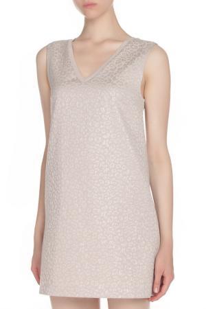 Короткое платье с V-образным вырезом Liu Jo Jeans. Цвет: бежевый
