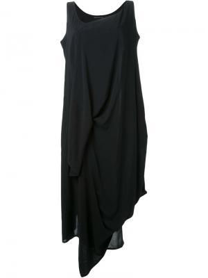 Асимметричное драпированное платье Yohji Yamamoto. Цвет: чёрный