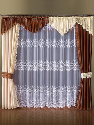 Комплект штор Wisan. Цвет: коричневый, бежевый, белый