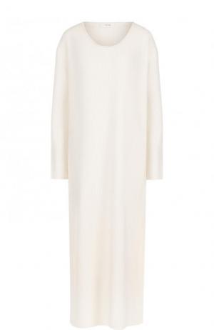 Кашемировое платье-миди свободного кроя The Row. Цвет: бежевый