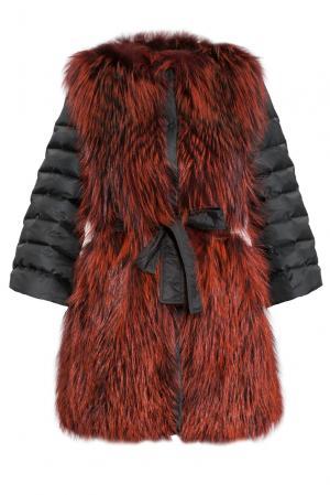 Шуба из меха чернобурой лисы с поясом 154860 Adamo. Цвет: красный